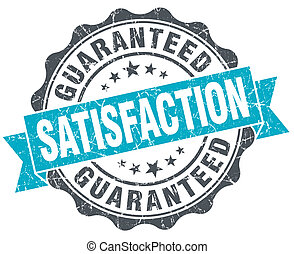 satisfaction guaranteed vintage turquoise seal isolated on white