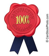 Satisfaction guaranteed wax seal with ribbons.