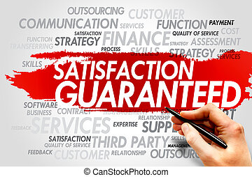 Satisfaction Guaranteed word cloud, business concept