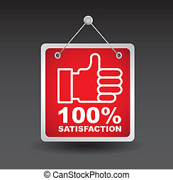 satisfaction label with good sign. vector illustration