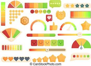 Satisfaction level icons set cartoon vector. Customer smile