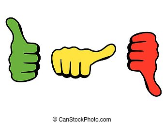 Satisfaction Level - Three thumbs icon for satisfaction...