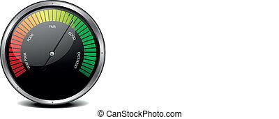 Satisfaction Meter - illustration of a metal framed customer...