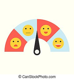 Satisfaction meter, satisfaction level, flat design vector illustration