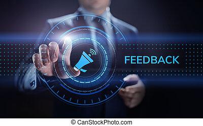 satisfaction, réaction, service, testimonials, concept., business, revue, client