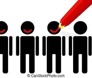 Satisfaction - Red pencil draws a smile on the faces of ...