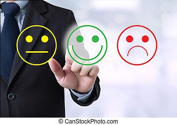 satisfaction, sélectionner, homme, heureux, business, evaluation?