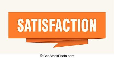satisfaction sign. satisfaction paper origami speech bubble....