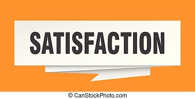 satisfaction sign. satisfaction paper origami speech bubble....