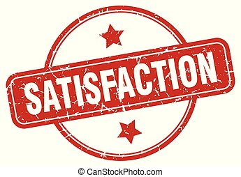 satisfaction sign - satisfaction vintage round isolated...