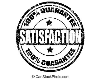 Grunge rubber stamp with word satisfaction inside, vector illustration