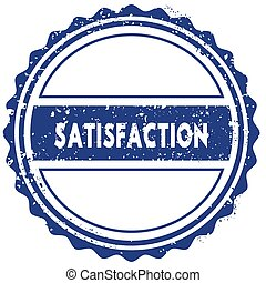 SATISFACTION stamp. sticker. seal. blue round grunge vintage ribbon sign