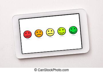 satisfaction, table, blanc, tablette, représentation