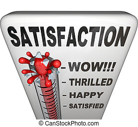 A thermometer topped with the word Satisfaction measures the happiness a person or customer has with his or her experience in a retail or other environment, with the mercury rising past levels for satisfied, happy, thrilled and wow