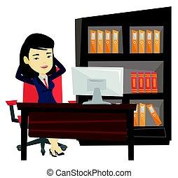 satisfeito, mulher negócio, relaxante, em, escritório.