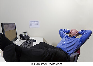 Satisfied - A office worker / businessman satisfied with...