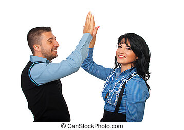 Satisfied business people give high five