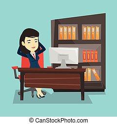 Satisfied business woman relaxing in office. - Satisfied...