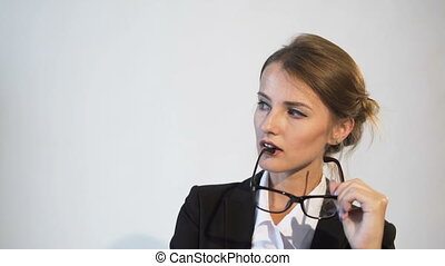 Satisfied Businesswoman's Thinking Process - Satisfied young...