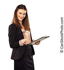 Satisfied Career Woman Doing Her Job - Satisfied female...