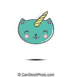 Satisfied cartoon blue cat head unicorn, isolated on white vector illustration