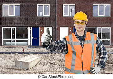Satisfied construction worker