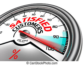 satisfied customers conceptual meter indicating hundred...