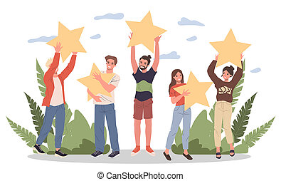 Satisfied customers rating services quality with review stars illustration. Happy people holding stars over their hands. Clients giving feedback for marketing survey, customer choice award