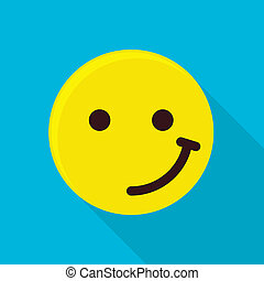 Satisfied emoticon icon, flat style
