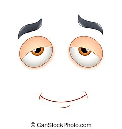 Satisfied Face Expression - Sleepy Cartoon Face Smiling...