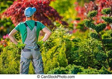 Satisfied Gardener in the Garden