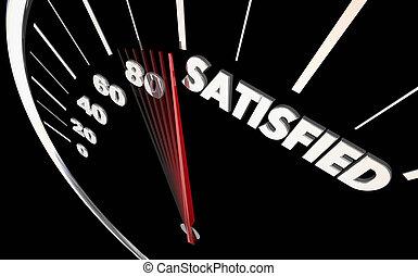 Satisfied Happiness Level Satisfaction Speedometer Word 3d Illustration
