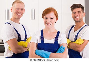 Satisfied team of cleaners