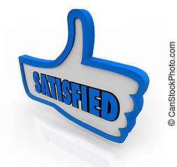 Satisfied Word on Blue Thumb Pleased Thumbs Up - The word...