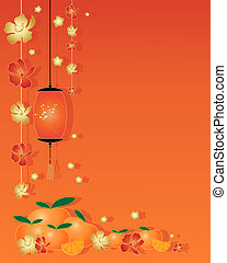 an illustration of a chinese greeting card design with red and gold blossom tangerine lantern and satsuma fruit with space for text