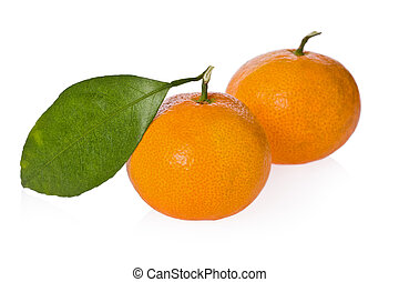Two satsuma oranges against a white background.