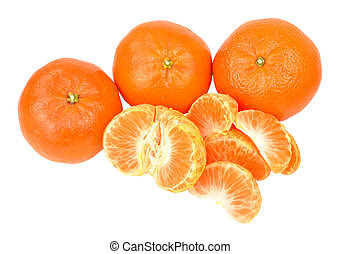 Fresh Juicy Satsuma oranges isolated on a white background