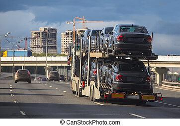 sattelanhänger, auto, transport
