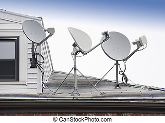 sattelite TV antenna - Satellite TV antenna on roof