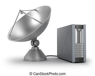 sattelite, vía, conectado, servidor