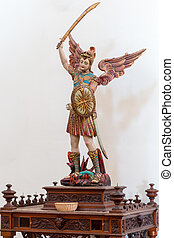 Satue of St. Michael the Archangel in a church