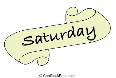 A Saturday message scroll isolated over a white background.