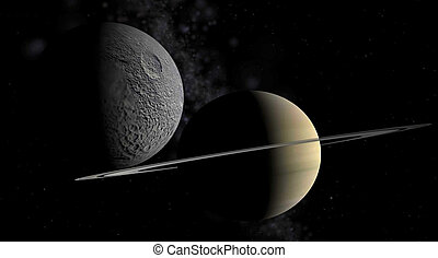 Saturn and a moon