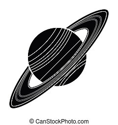 Saturn icon in black style isolated on white background. Planets symbol stock vector illustration.