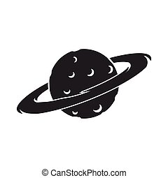 Saturn icon in  black style isolated on white background. Space symbol stock vector illustration.