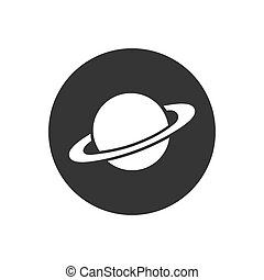 Saturn icon in flat style. Planet vector illustration on gray isolated background. Galaxy space business