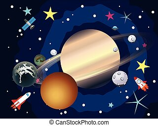 Saturn in the Space - Big planet Saturn in the space with...