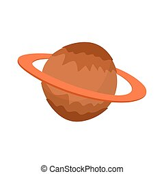 Saturn isolated cartoon style. Planet of solar system on white background