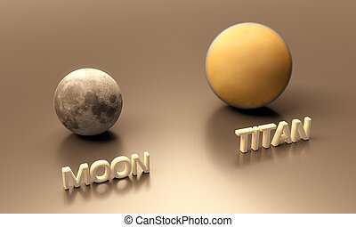 Saturn Moon Titan and Earth Moon