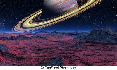 Saturn over the horizon